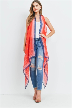 S21-8-1-PN222X064AM - USA ACCENT STAR OPEN FRONT KIMONO VEST-RED/6PCS