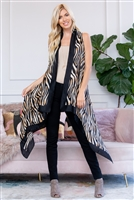 S19-8-5-PN222X082- SLEEVELESS TIGER PRINT LONG OPEN FRONT KIMONO VEST/6PCS