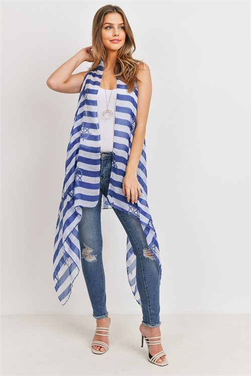 S19-11-5-PN222X100- PRINTED STRIPE BLUE  SHEEP WHEEL KIMONO VEST /6PCS
