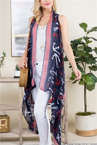 S26-8-5--PN222X102 - NAVY ANCHOR LONG OPEN FRONT KIMONO VEST/6PCS