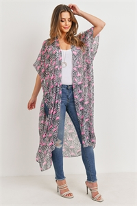 S19-9-5-PN222X114- LONG OPEN FRONT PRINTED FLAMINGO KIMONO/6PCS