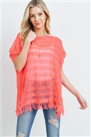 S29-8-4-PN231X009I1 - SHORT SLEEVES SEE THROUGH KNITTED TASSEL TOP - ORANGE /6PCS
