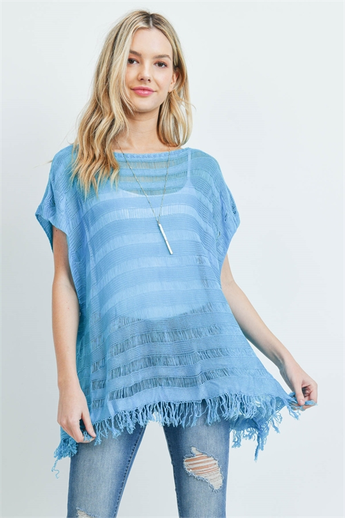 S29-9-4-PN231X009T - SHORT SLEEVES SEE THROUGH KNITTED TASSEL TOP - BLUE/6PCS
