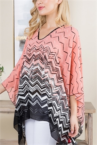 S21-6-4-PN291X002P - GEOMETRIC PATTERN THREE TONE PONCHO -PINK NAVY/6PCS