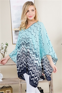 S21-6-4-PN291X002S - GEOMETRIC PATTERN THREE TONE PONCHO - TURQUOISE NAVY/6PCS