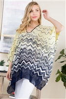 S21-6-4-PN291X002Y - GEOMETRIC PATTERN THREE TONE PONCHO - YELLOW NAVY/6PCS