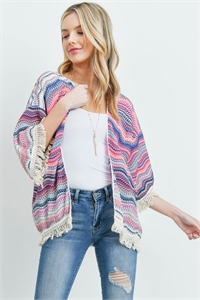 S28-8-3-PN291X008DN - OPEN FRONT HIP LENGTH KNITTED KIMONO MULTICOLOR/6PCS