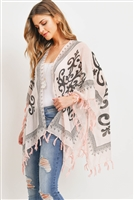 S29-7-4-PN323X013P - OPEN FRONT GRAPHIC PRINTED TASSEL KIMONO-PINK/6PCS