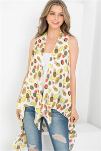 S21-6-4-PN328X009L - LONG OPEN FRONT TROPICAL FRUIT KIMONO VEST - LIGHT/6PCS