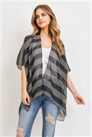 S29-9-4-PN328X045G - MID THIGH STRIPED KIMONO - BLACK/6PCS