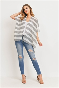 S29-9-4-PN328X045L - MID THIGH STRIPED KIMONO - WHITE/6PCS