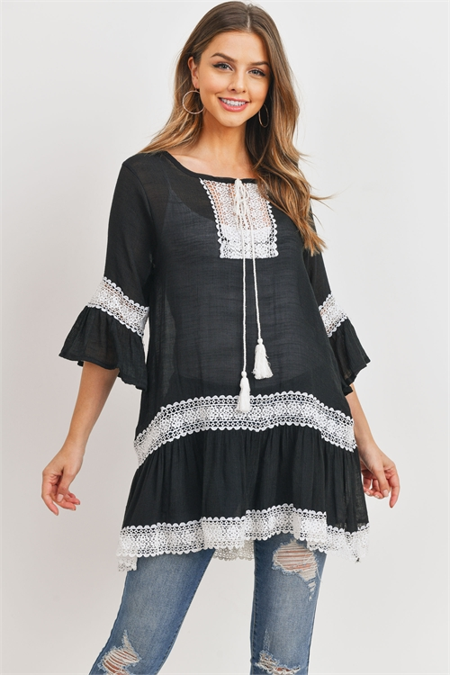 S20-12-5-PN353X078G-BLACK LACE TUNIC TOP/6PCS