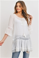 S20-12-5-PN353X078L- WHITE LACE TUNIC TOP/6PCS