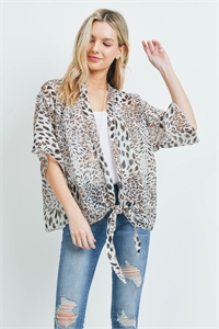 S28-8-3-PN448X006ALP - ANIMAL PRINT OPEN FRONT LIGHT  KIMONO /6PCS