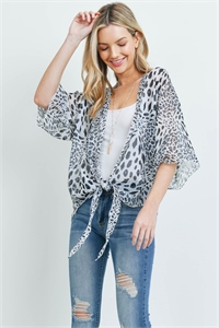 S29-7-4-PN448X006GLP - ANIMAL PRINT OPEN FRONT LIGHT  KIMONO BLACK WHITE/6PCS