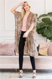 S26-9-5-PN448X007ALP - MULTI ANIMAL PRINT OPEN FRONT KIMONO - BROWN/6PCS