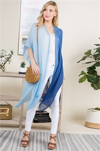 S21-6-4-PN449X006 - KNEE LENGTH OPEN FRONT GRADIENT TWO TONE BLUE KIMONO/6PCS