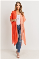 S20-12-5-PN449X007- KNEE LENGTH OPEN FRONT GRADIENT TWO TONE ORANGE KIMONO/6PCS
