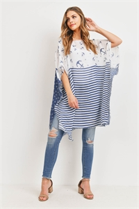 S29-7-4-PN450X003 - ANCHOR STRIPE PATTERN FRINGED PONCHO/6PCS