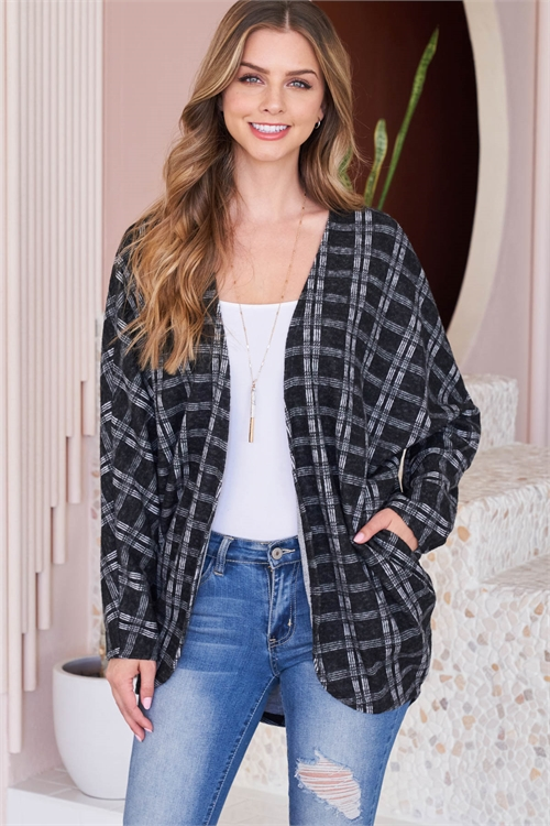 S8-8-1-PPC3001-BK - PLAID ROUND HEM POCKET OPEN CARDIGAN- BLACK 1-2-2-2