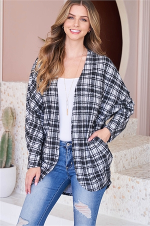 S5-7-1-PPC3002-BK - PLAID ROUND HEM POCKET OPEN CARDIGAN- BLACK 1-2-2-2