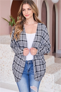 S14-6-4-PPC3003-BK - PLAID ROUND HEM POCKET OPEN CARDIGAN- BLACK 1-2-2-2