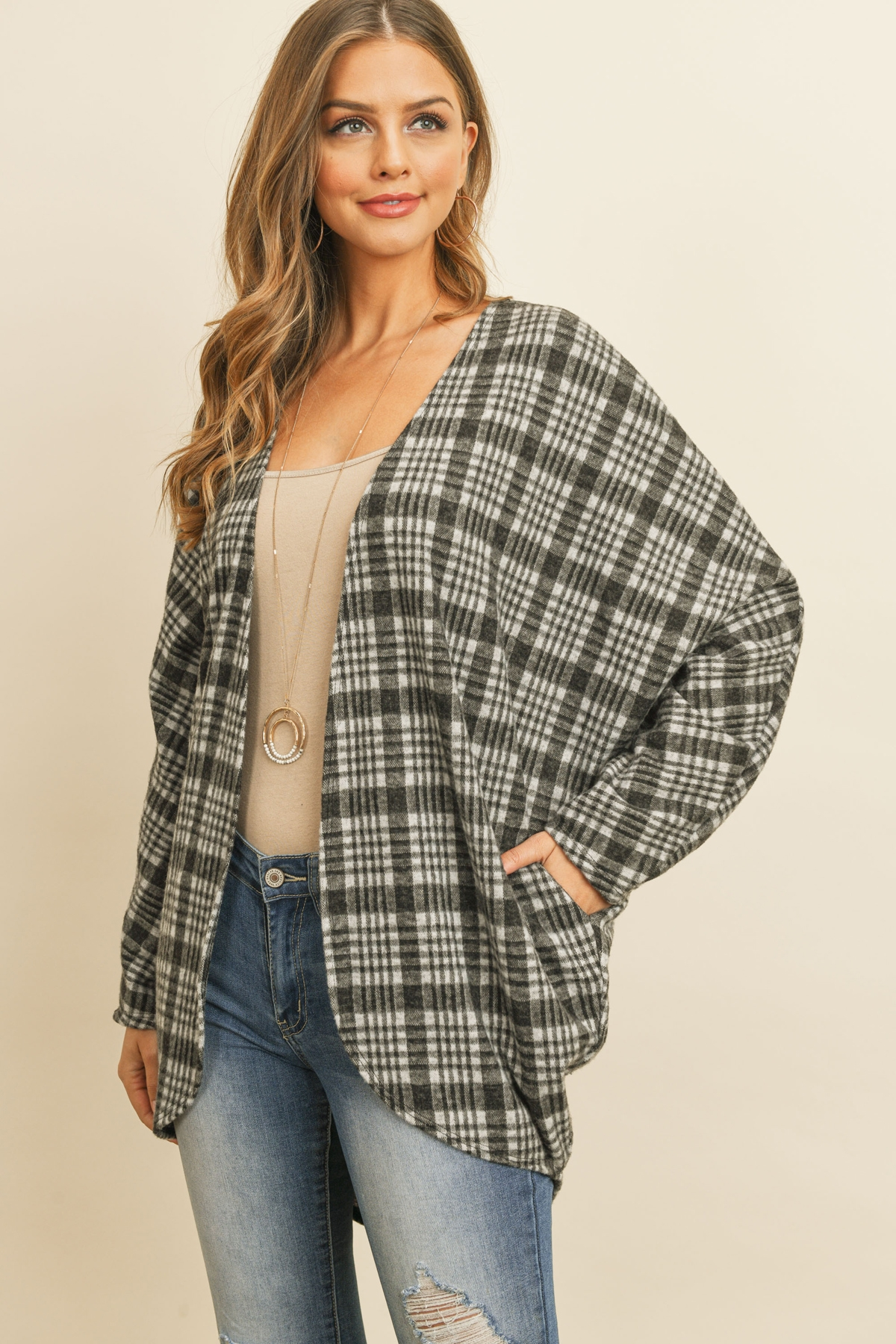 S13-5-4-PPC3004-BK - PLAID ROUND HEM POCKET OPEN CARDIGAN- BLACK 1-2-2-2