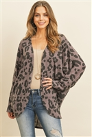 S8-5-4-PPC3005-DKLVD - LONG SLEEVED LEOPARD OPEN FRONT CARDIGAN- DARK LAVENDER 1-2-2-2