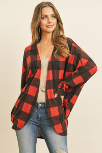 S15-2-2-PPC3006-BKRD - PLAID BRUSHED LONG SLEEVED OPEN CARDIGAN- BLACK RED 1-2-2-2