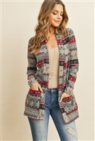 S6-3-3-PPC3007-GYMGT - BOHO PRINT LONG SLEEVED FRONT POCKET OPEN CARDIGAN- GREY/MAGENTA 1-2-2-2