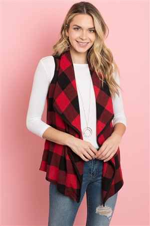 S11-2-2-PPC3010-BKRD - SLEEVELESS PLAID VEST CARDIGAN WITH INSEAM POCKET- BLACK/RED 1-2-2-2