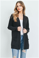 S8-3-3-PPC3011-BK - SOLID RIB DETAIL FRONT POCKETS OPEN CARDIGAN- BLACK 1-2-2-2