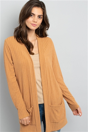 S8-2-2-PPC3012-CML - LONG SLEEVES RIB DETAIL FRONT POCKETS OPEN CARDIGAN- CAMEL 1-2-2-2
