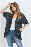 S14-11-4-PPC3013-MC-1 - LEOPARD SHORT SLEEVES OPEN FRONT HI-LOW CARDIGAN- MOCHA 0-1-2-2