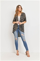 S14-11-4-PPC3013-MTP-1 - LEOPARD SHORT SLEEVES OPEN FRONT HI-LOW CARDIGAN- MEDIUM TAUPE 0-1-2-2