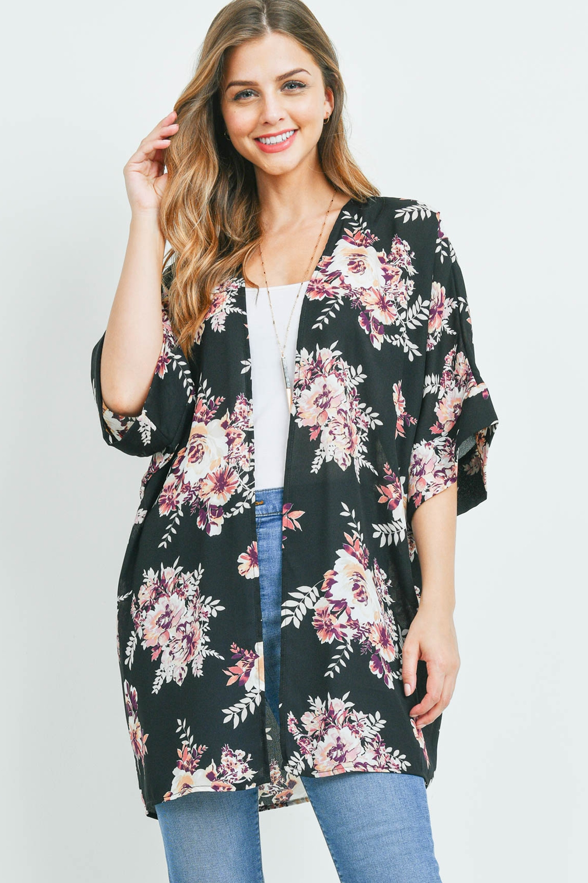 S16-4-3-PPC3014-BK - BELL SLEEVE FLORAL PRINT OPEN FRONT CARDIGAN- BLACK 1-2-2-2