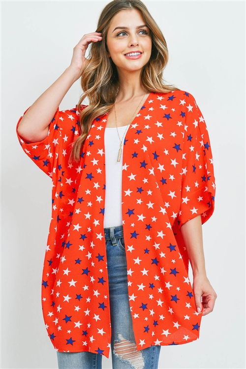 S10-16-3-PPC3015-RD-1 - STAR PRINT OPEN CARDIGAN- RED 0-2-2-2