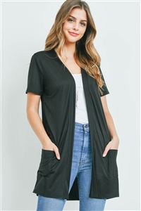S8-14-4-PPC3017-BK-1 - OPEN FRONT SHORT SLEEVES SIDE POCKETS CARDIGAN- BLACK 0-2-2-2