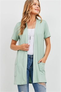 S8-14-4-PPC3017-DKSG-1 - OPEN FRONT SHORT SLEEVES SIDE POCKETS CARDIGAN- DARK SAGE 0-2-2-2