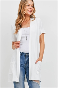S8-14-4-PPC3017-IV-1 - OPEN FRONT SHORT SLEEVES SIDE POCKETS CARDIGAN- IVORY 0-2-2-2