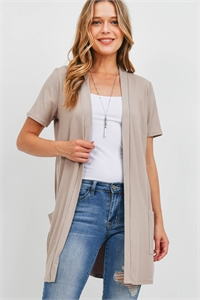 S8-14-4-PPC3017-LTMC-1 - OPEN FRONT SHORT SLEEVES SIDE POCKETS CARDIGAN- LIGHT MOCHA 0-2-2-2