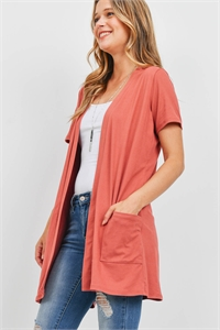 S8-14-4-PPC3017-MAR-1 - OPEN FRONT SHORT SLEEVES SIDE POCKETS CARDIGAN- MARSALA 0-2-2-2