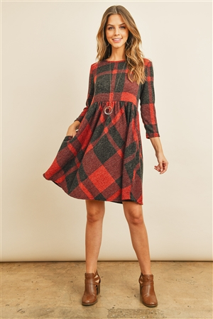 S12-11-4-PPD1005-RDBK - PLAID PRINT MIER HAIR POCKET MINI DRESS- RED/BLACK 1-2-2-2