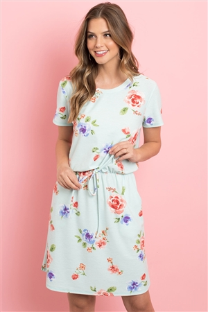 S12-5-1-PPD1013-MNT - CINCH WAIST POCKET FLORAL DRESS- MINT 1-2-2-2