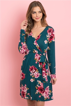 S10-5-2-PPD1015-DGN - SURPLICE NECKLINE CINCH WAIST FLORAL DRESS- DARK GREEN 1-2-2-2