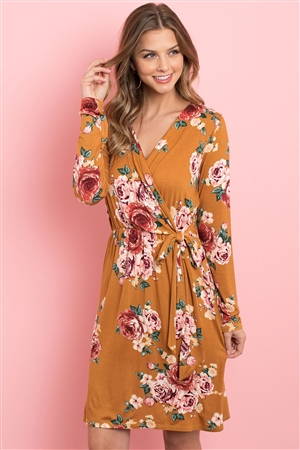 S10-5-2-PPD1015-MU - SURPLICE NECKLINE CINCH WAIST FLORAL DRESS- MUSTARD 1-2-2-2