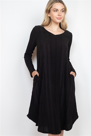 S15-2-1-PPD1017-BK - SOLID RIB DETAIL LONG SLEEVES V-NECK ROUND HEM DRESS- BLACK 1-2-2-2