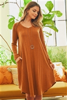 S16-2-1-PPD1017-CGNC - SOLID RIB DETAIL LONG SLEEVES V-NECK ROUND HEM DRESS- COGNAC 1-2-2-2