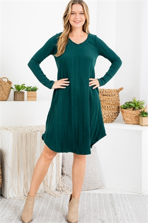 S15-3-1-PPD1017-GNSLD - SOLID RIB DETAIL LONG SLEEVES V-NECK ROUND HEM DRESS- GREEN SOLID 1-2-2-2