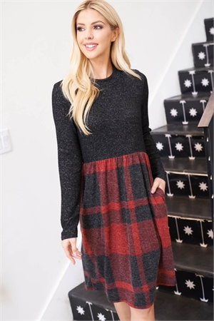 S16-2-2-PPD1018-BK2TRDBK - TWO TONED HIGH NECK LONG SLEEVES PLAID CONTRAST DRESS- BLACK 2TONE/RED-BLACK 1-2-2-2